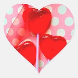 Heart lollipops on polka dots heart sticker