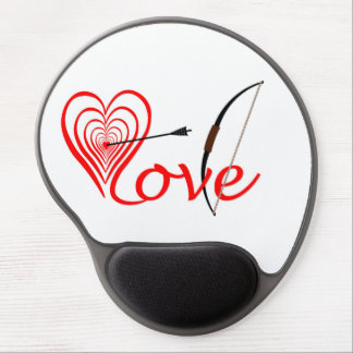 Heart love Dartscheibe with arrow and sheet Gel Mouse Pad