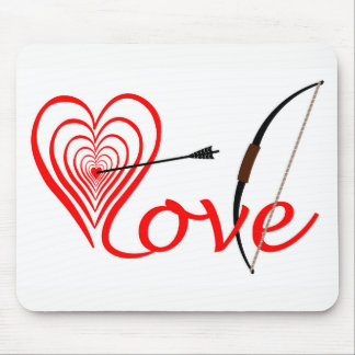Heart love Dartscheibe with arrow and sheet Mouse Pad