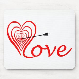 Heart love Dartscheibe with arrow Mouse Pad