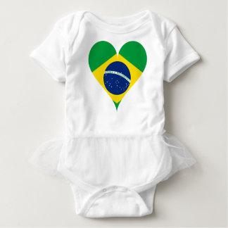 Heart Love Flag Brazil Heart Shaped Baby Bodysuit
