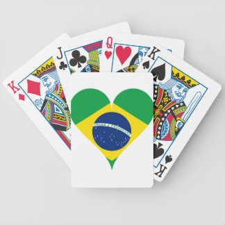 Heart Love Flag Brazil Heart Shaped Bicycle Playing Cards