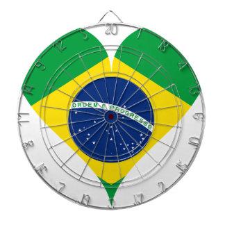 Heart Love Flag Brazil Heart Shaped Dartboard
