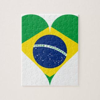 Heart Love Flag Brazil Heart Shaped Jigsaw Puzzle