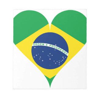 Heart Love Flag Brazil Heart Shaped Notepad