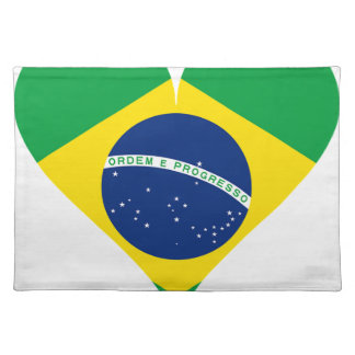 Heart Love Flag Brazil Heart Shaped Placemat