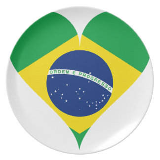 Heart Love Flag Brazil Heart Shaped Plate