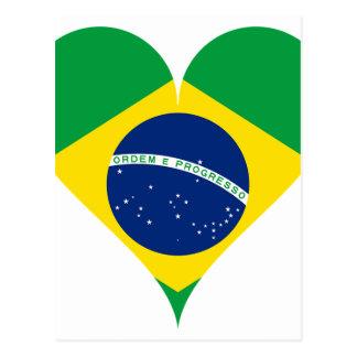 Heart Love Flag Brazil Heart Shaped Postcard