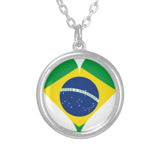 Heart Love Flag Brazil Heart Shaped Silver Plated Necklace