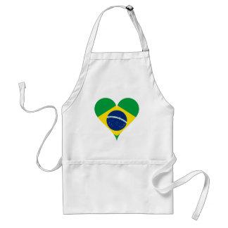 Heart Love Flag Brazil Heart Shaped Standard Apron