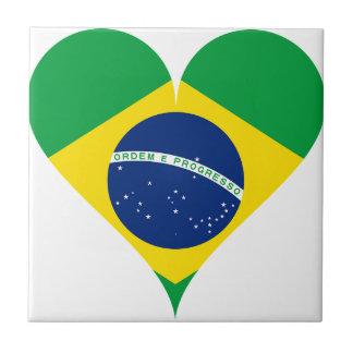 Heart Love Flag Brazil Heart Shaped Tile