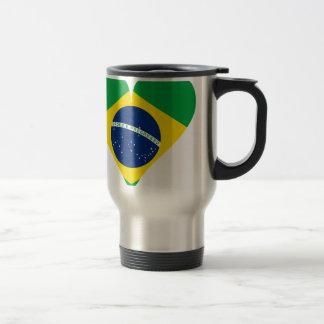 Heart Love Flag Brazil Heart Shaped Travel Mug