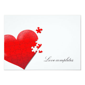 heart love jigsaw puzzle invitation
