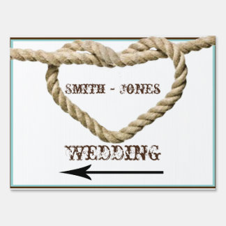 Heart Love Knot Western Wedding Direction Sign