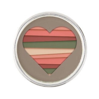 Heart Love Striped Valentine's Day Lapel Pin