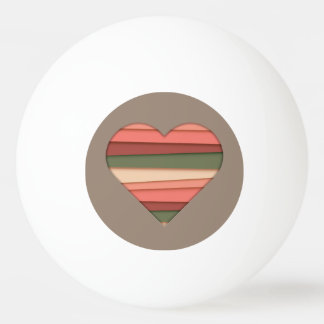 Heart Love Striped Valentine's Day Ping Pong Ball