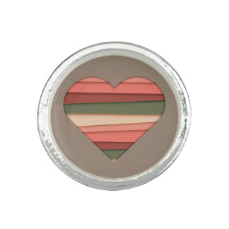 Heart Love Striped Valentine's Day Rings
