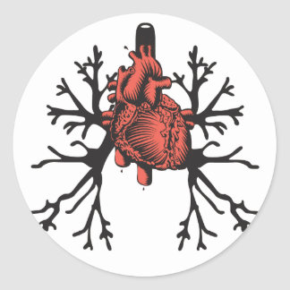 Heart & Lungs Round Sticker