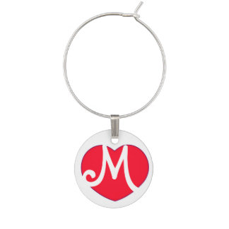 Heart M Initial Wine Charm