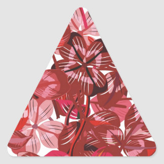 Heart made of red clover leaves triangle sticker