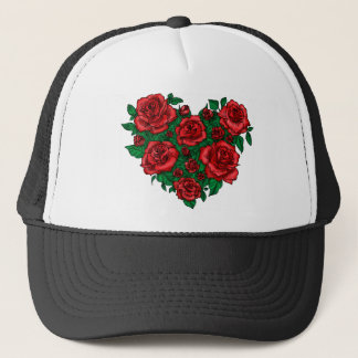 Heart made of red roses romantic valentine's love trucker hat