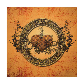 Heart made of rusty metal and black roses wood prints