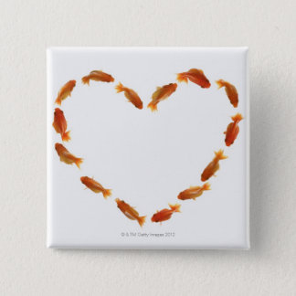 Heart made with goldfishes 2 inch square button