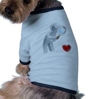 Heart magnifying glass man pet tee shirt