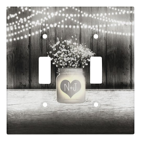 Heart Mason Jar & Baby's Breath Rustic Farmhouse Light Switch Cover