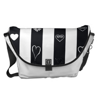 Heart Modern Black White Stripes Pattern Commuter Bag