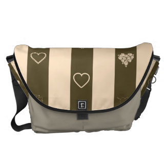 Heart Modern Donkey Brown Stripes Pattern Courier Bag