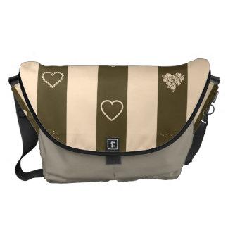 Heart Modern Donkey Brown Stripes Pattern Messenger Bag