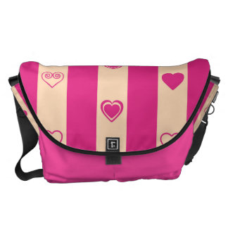 Heart Modern Hot Pink Stripes Pattern Courier Bag