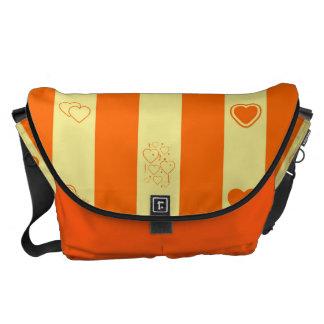 Heart Modern Orange Stripes Pattern Commuter Bag