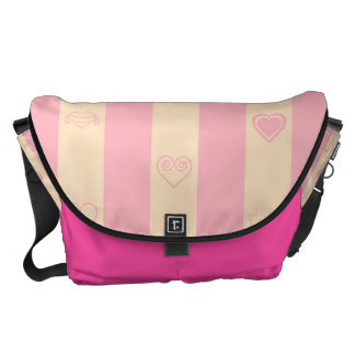 Heart Modern Pink Stripes Pattern Courier Bag