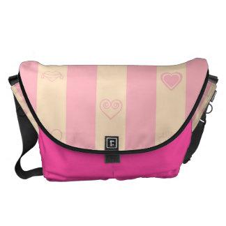 Heart Modern Pink Stripes Pattern Messenger Bags