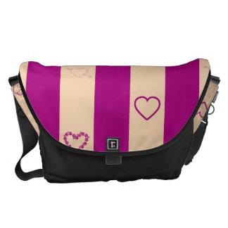 Heart Modern Royal Fuchsia Stripes Pattern Messenger Bags