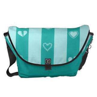 Heart Modern Turquoise Stripes Pattern Messenger Bag