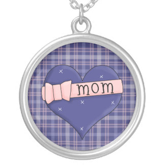Heart Mom Round Sterling Silver Necklace