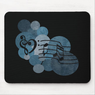 Heart music clefs and blue polka dots mouse pad