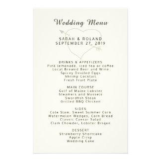 Heart n Arrow Custom Ecru Simple Wedding Menu