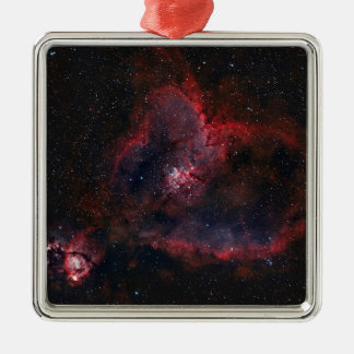 Heart Nebula Silver-Colored Square Ornament