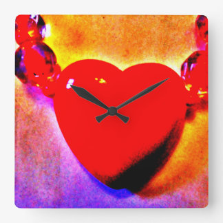 Heart Necklace Square Wall Clock