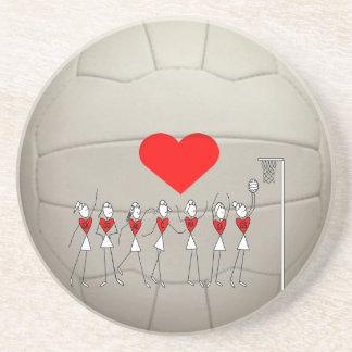 Heart Netball Ball Design Coaster