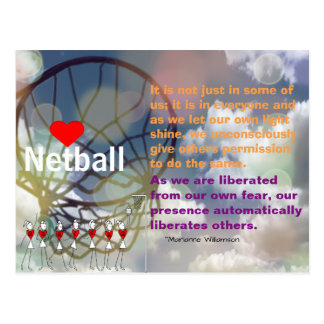 Heart Netball Design and Inspirational Quote Postcard