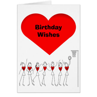 Heart Netball Positions Happy Birthday Card