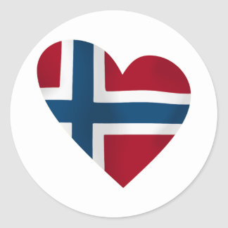 Heart Norwegian Flag Classic Round Sticker