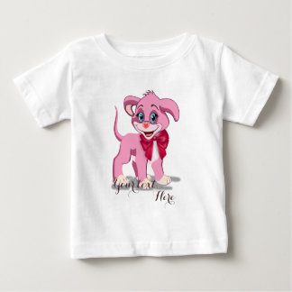 Heart Nose Pink Puppy Cartoon Baby T-Shirt