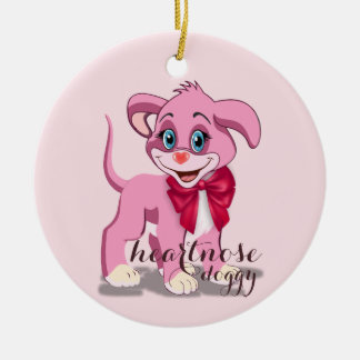Heart Nose Pink Puppy Cartoon Ceramic Ornament