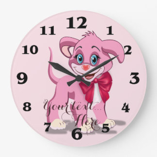 Heart Nose Pink Puppy Cartoon Large Clock